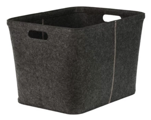 "Tidying up Office Space with Target 14""x15"" Felt Large Rectangle Basket with Stitching Dark Gray - Project 62™."