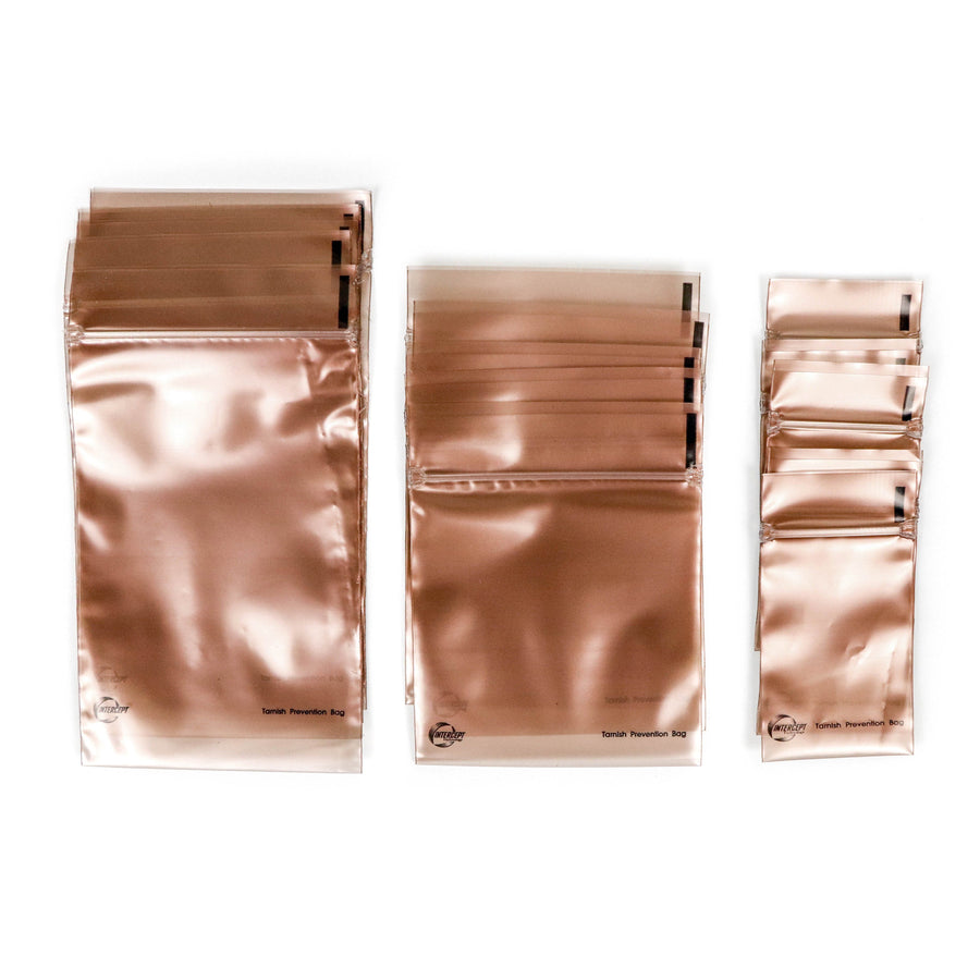 Set of anti-tarnish jewelry bags in copper