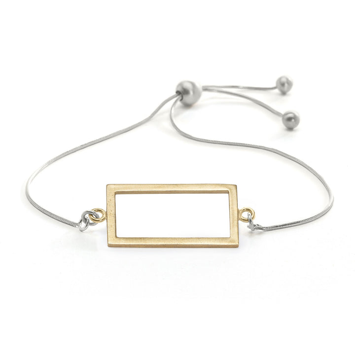 Minimalist adjustable gold rectangle bracelet