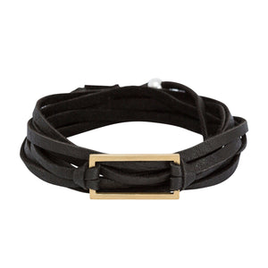 Black leather wrap bracelet with gold rectangle