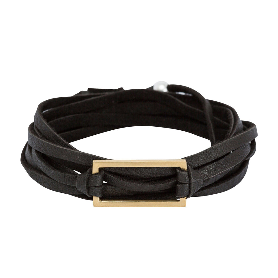 Bronze & Leather Wrap Bracelet - Black