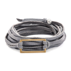Gray leather wrap bracelet with gold rectangle