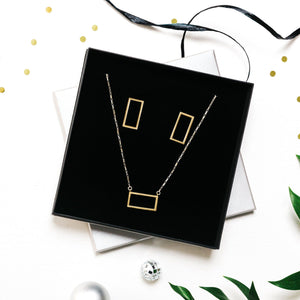 Bronze Rectangle Necklace & Earrings - Gift Set