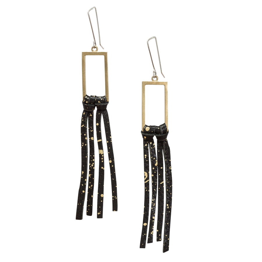 Bronze & Leather Fringe Earrings - Black