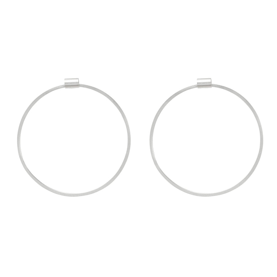 Circle Frame Earrings - Silver