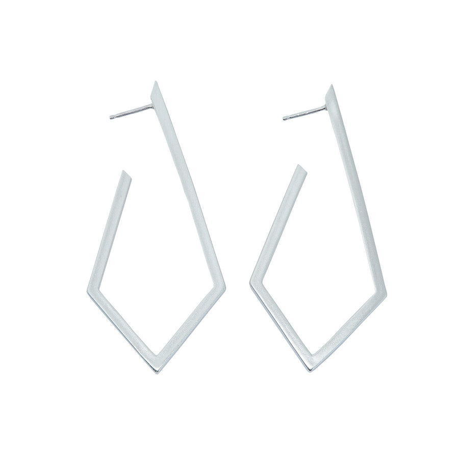 Minimalist kite shaped earrings in sterling silver