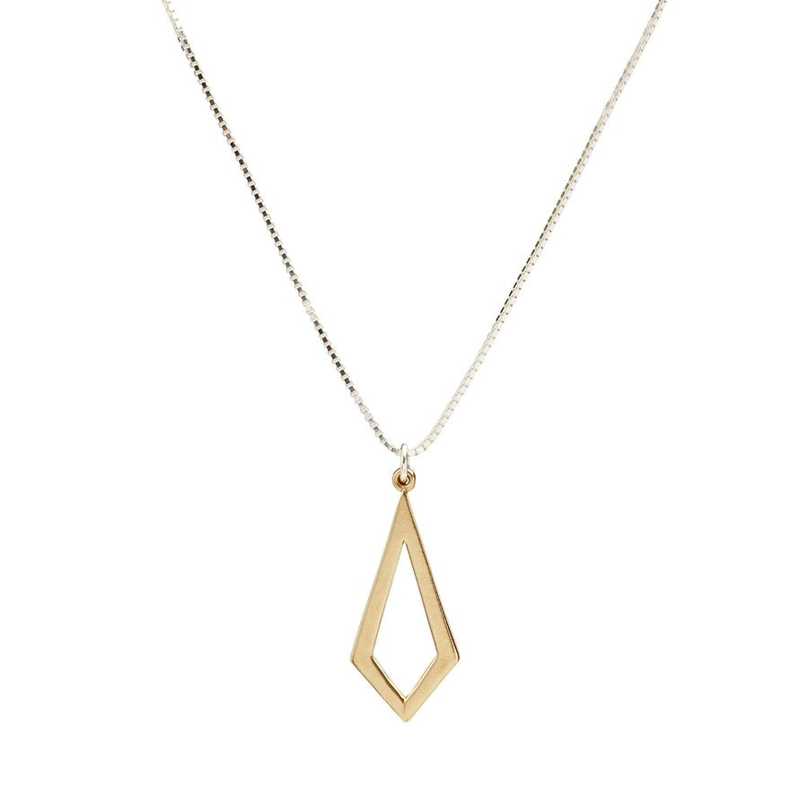 Minimalist kite necklace in yellow bronze