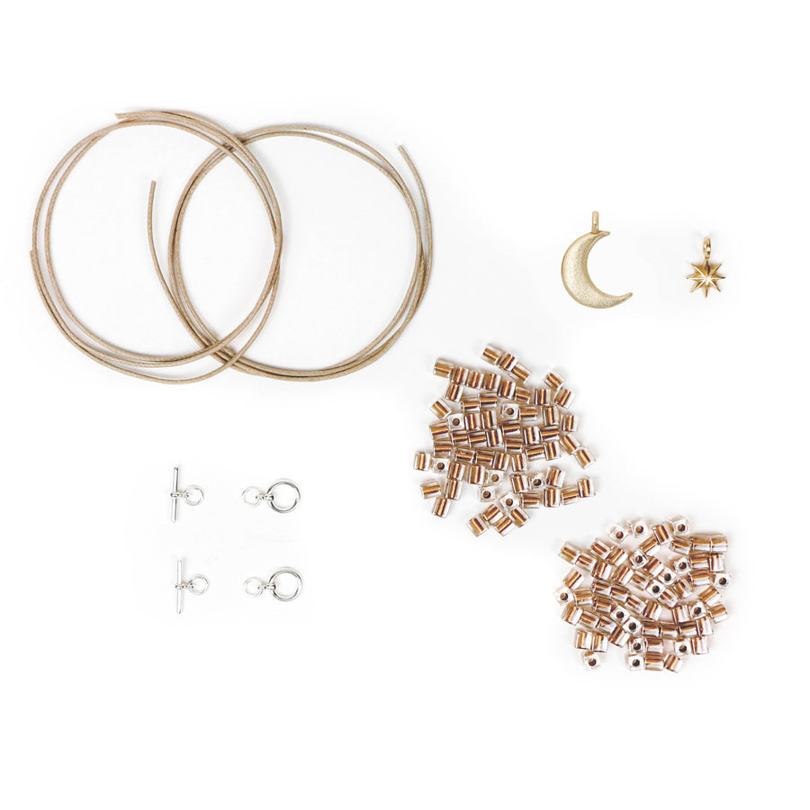 DIY bracelet kit with bronze charms
