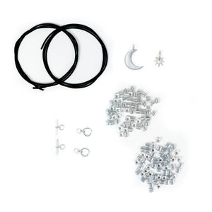 DIY bracelet kit with silver charms