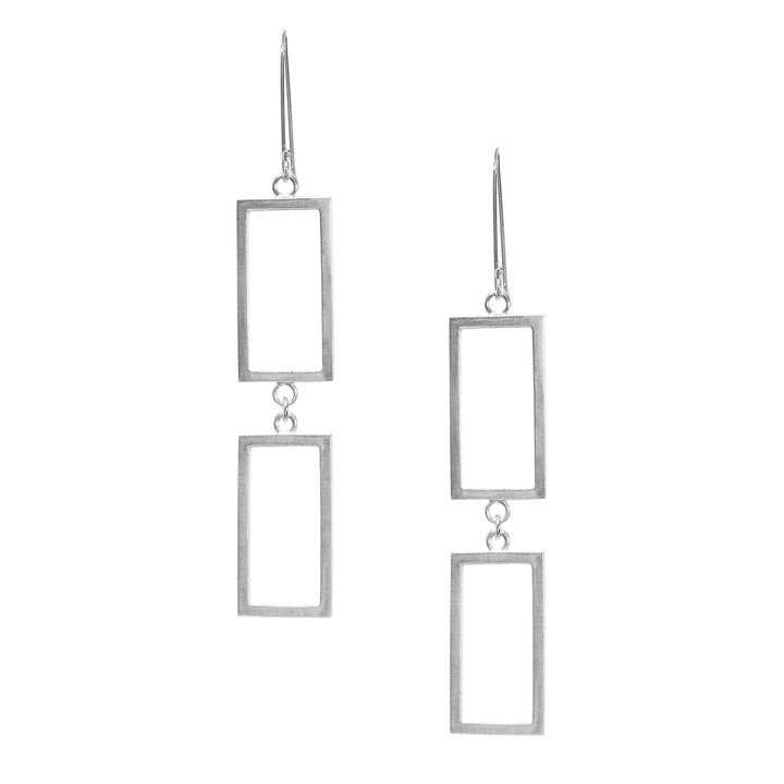 Duo Short Rectangle Earrings - Silver