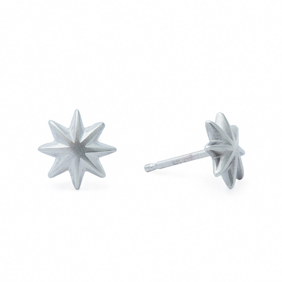 Minimalist silver star stud earrings