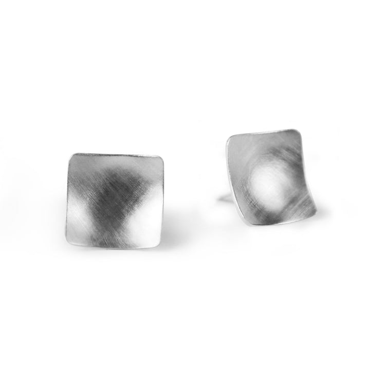 Geo Square Earrings - Silver
