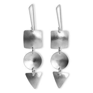 Geo Trio Earrings - Silver