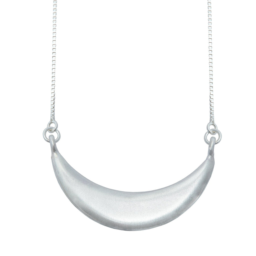 Minimalist silver crescent moon necklace
