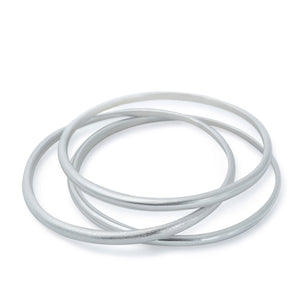 Set of three minimalist silver bangles