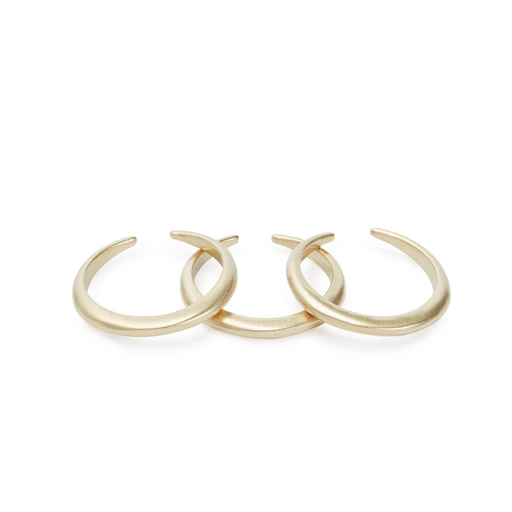 Set of minimalist stacking rings in gold