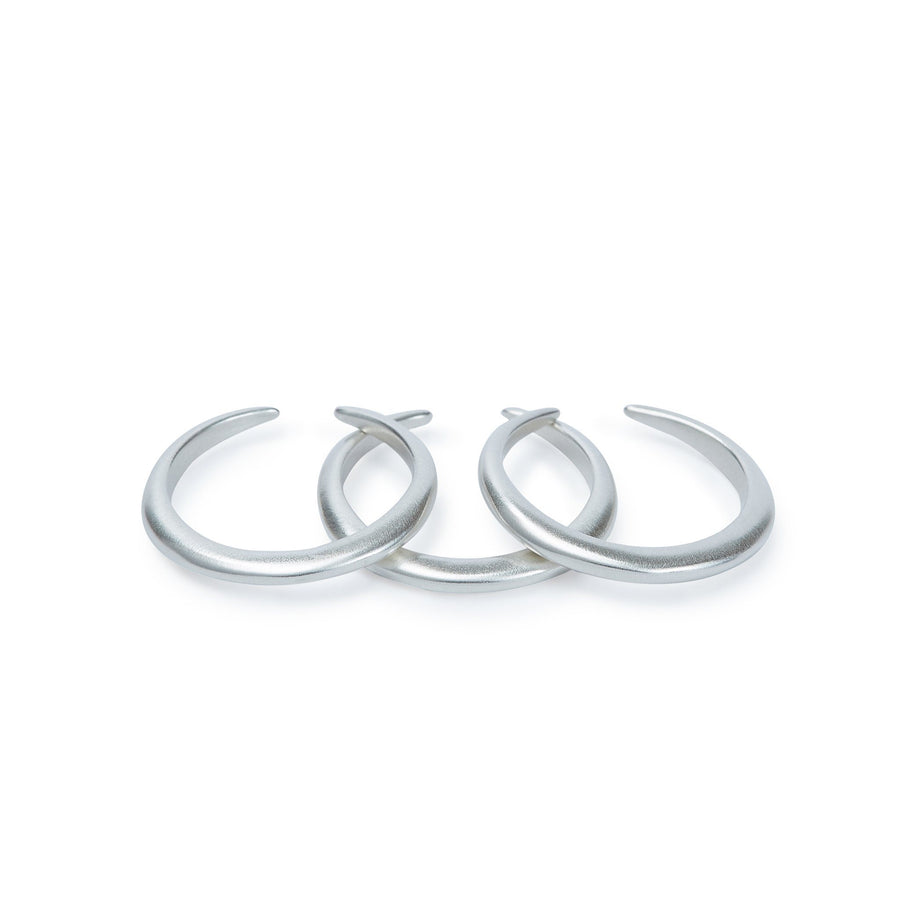 Set of minimalist stacking rings in silver