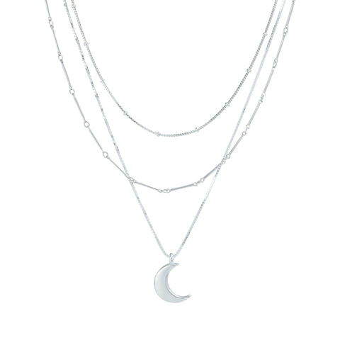 Layering chains in sterling silver