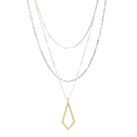 Three strand layering chain in sterling silver