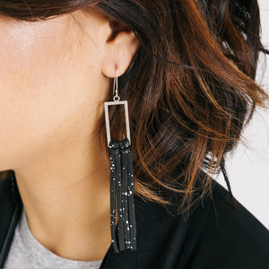 Silver & Leather Fringe Earrings - Black