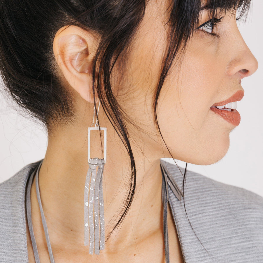 Silver & Leather Fringe Earrings - Gray