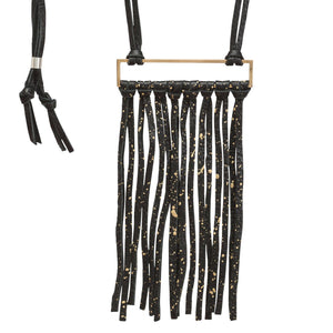 Bronze & Leather Fringe Necklace - Black