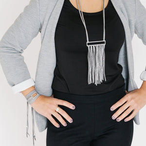 Silver & Leather Fringe Necklace - Gray