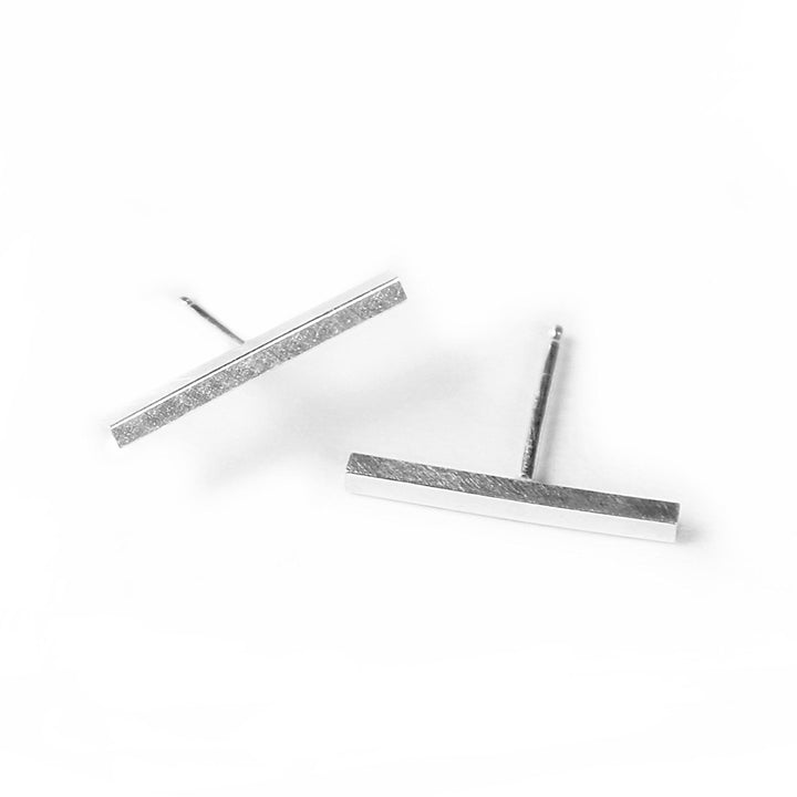 Minimalist silver bar stud earrings