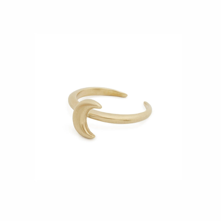 Minimalist crescent moon ring in bronze by Cielomar Jewelry
