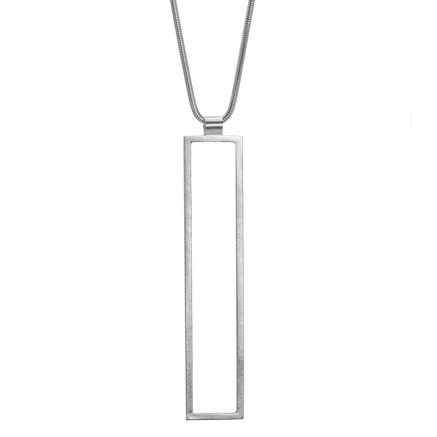 Rectangle Frame Long Necklace - Silver