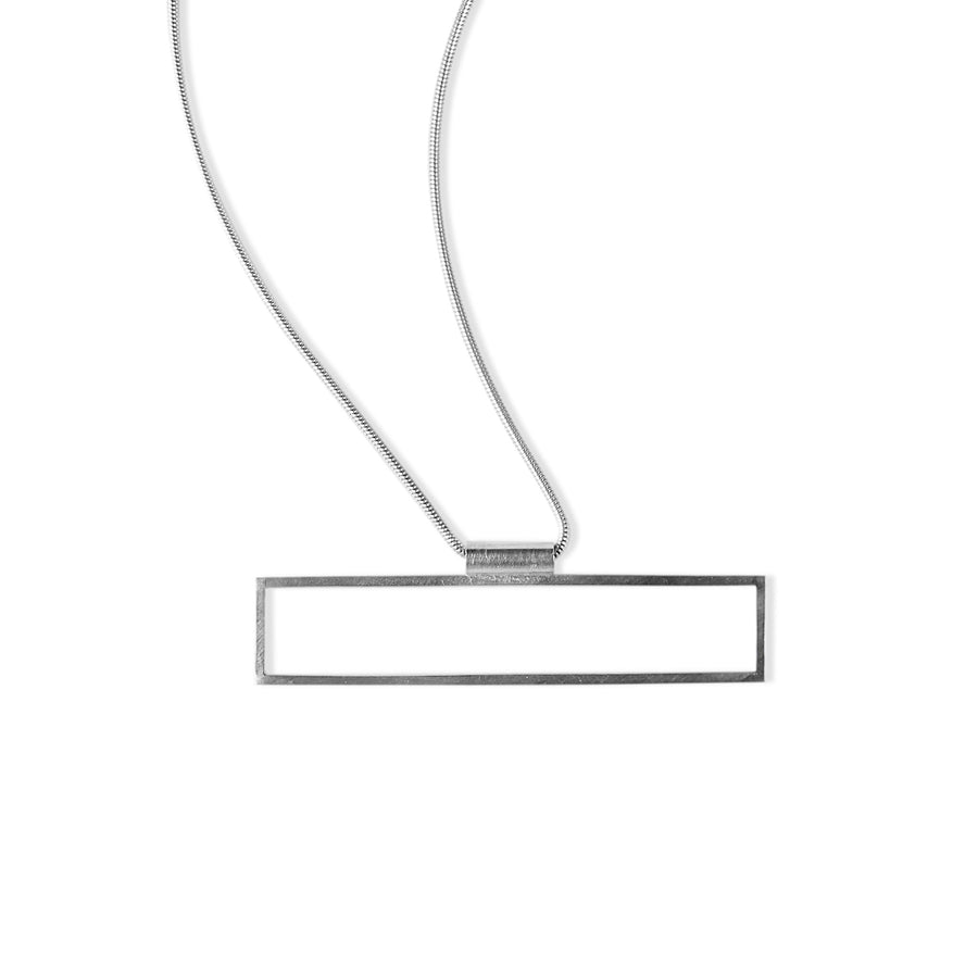 Rectangle Frame Short Necklace - Silver