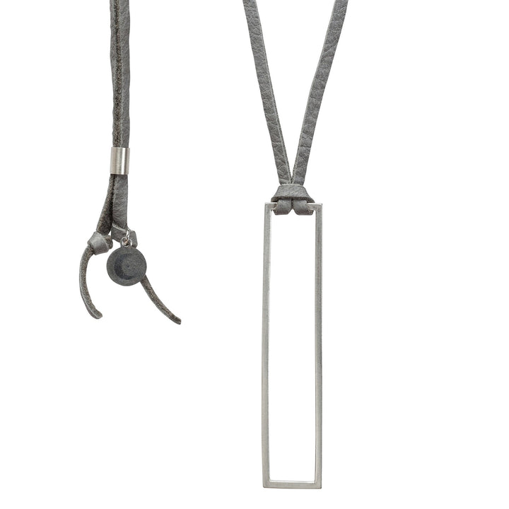 Minimalist rectangle pendant necklace with gray leather cord and silver rectangle