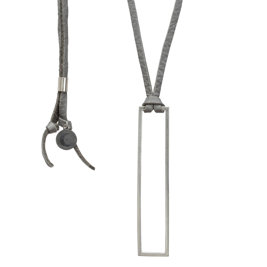 Silver & Leather Rectangle Frame Pendant - Gray