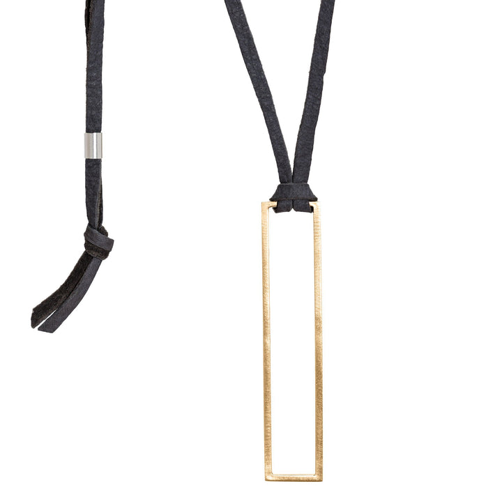 Minimalist rectangle pendant necklace with black leather cord and bronze rectangle