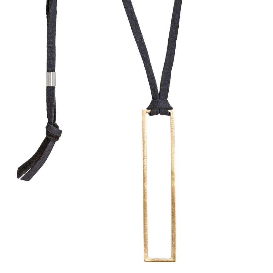 Bronze & Leather Rectangle Pendant - Black