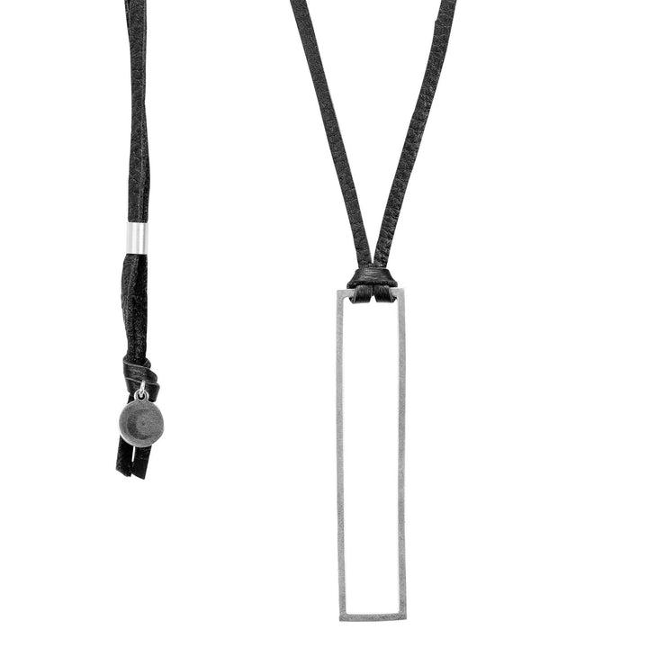 Minimalist rectangle pendant necklace with black leather cord and silver rectangle