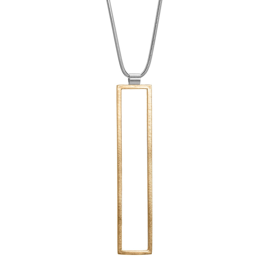 Rectangle Frame Long Necklace - Bronze