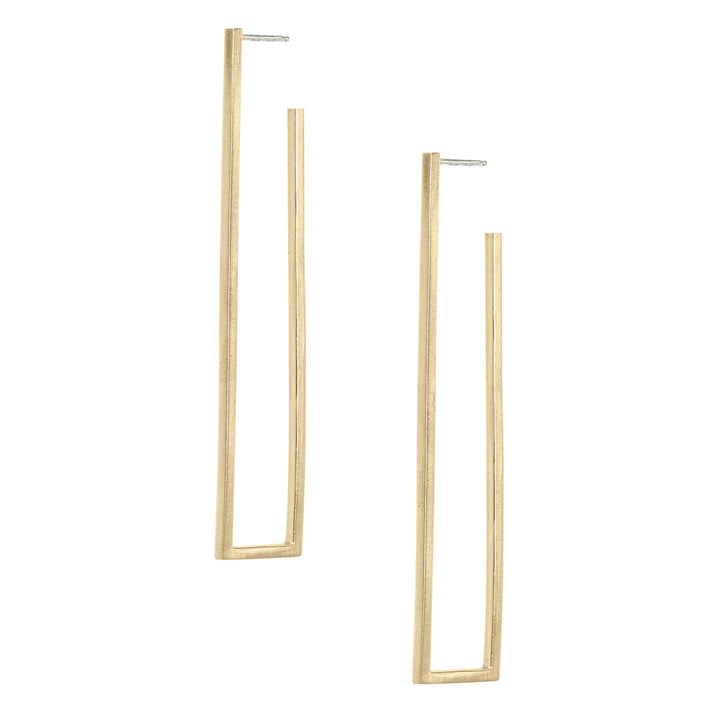 Rectangle Open Frame Earrings - Bronze