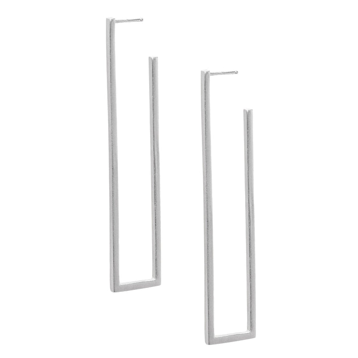 Minimalist silver rectangle earrings with open frame