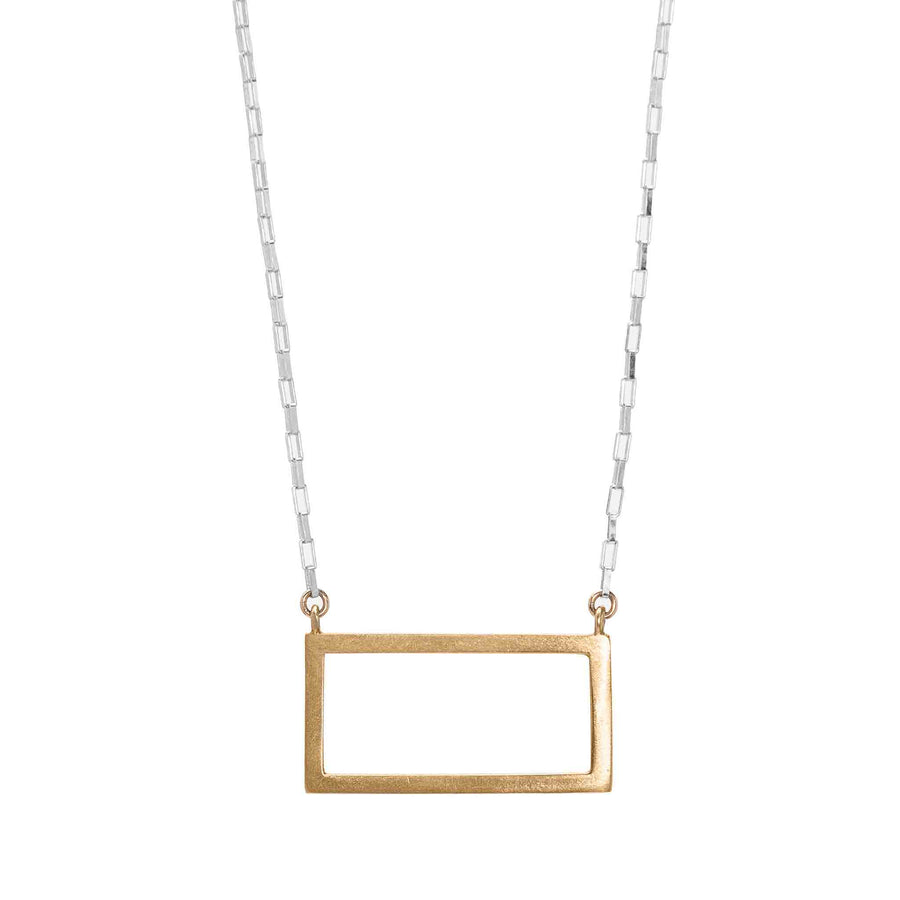 Minimalist gold rectangle pendant necklace