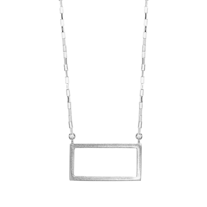 Short Rectangle Everyday Necklace - Silver