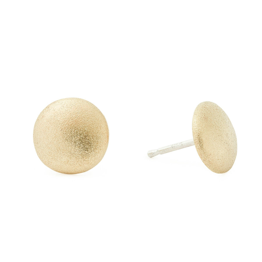 Minimalist gold full moon earrings
