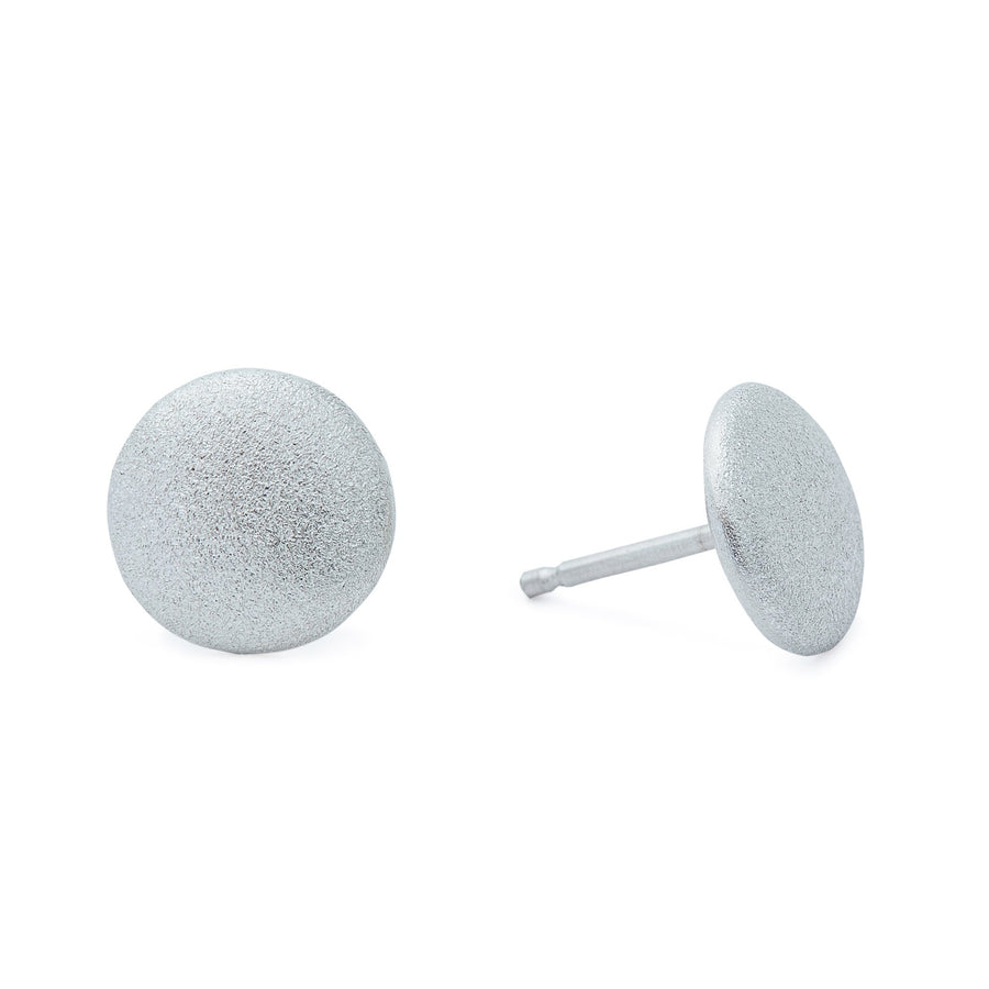 Minimalist silver full moon earrings