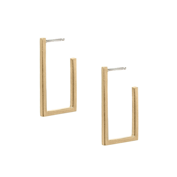 Minimalist short frame gold rectangle hoop earrings