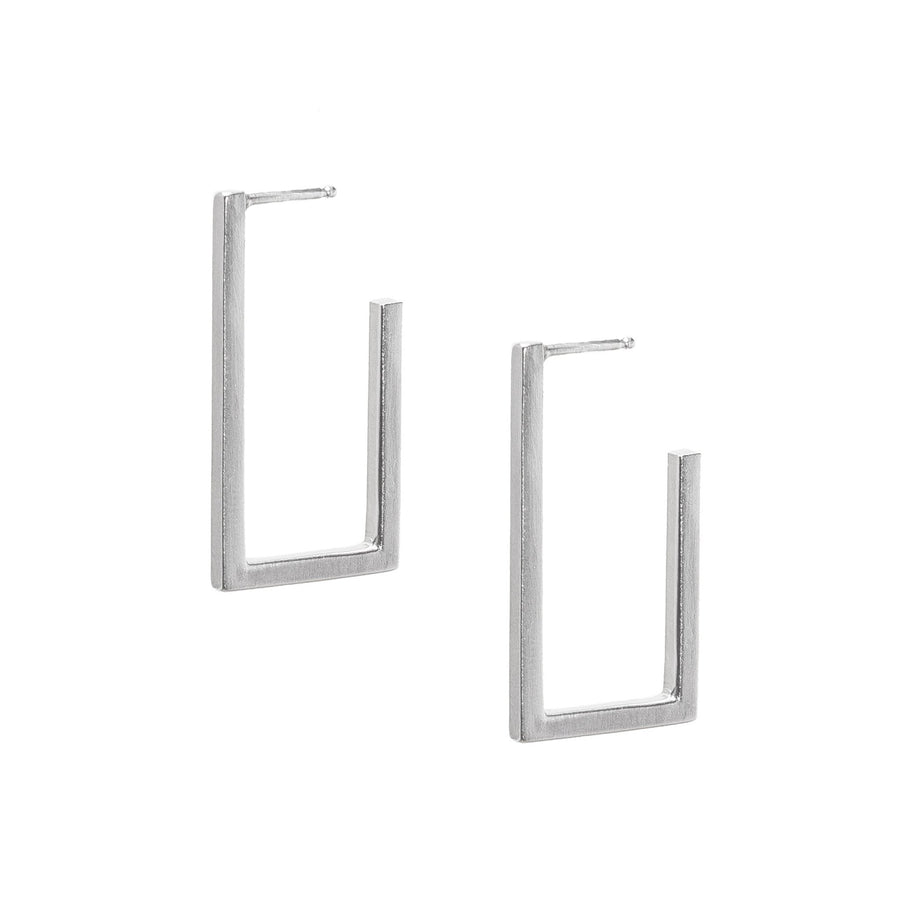 Minimalist silver rectangle hoop earrings