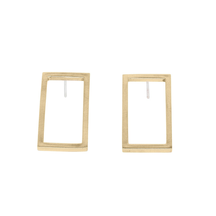 Minimalist short frame gold rectangle earrings