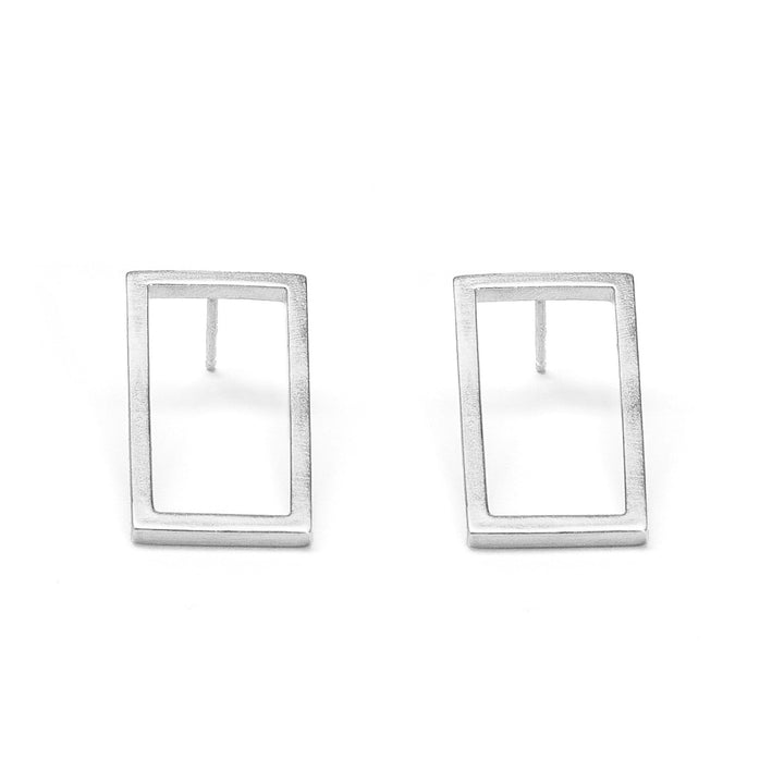 Minimalist short frame silver rectangle earrings