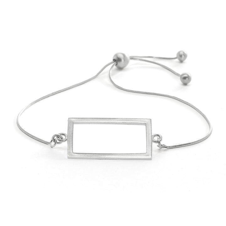 Minimalist adjustable silver rectangle bracelet