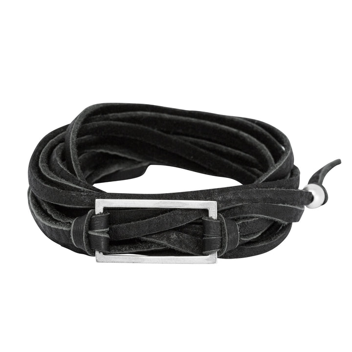 Black leather wrap bracelet with silver rectangle