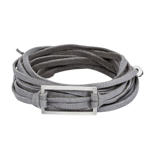 Gray leather wrap bracelet with silver rectangle